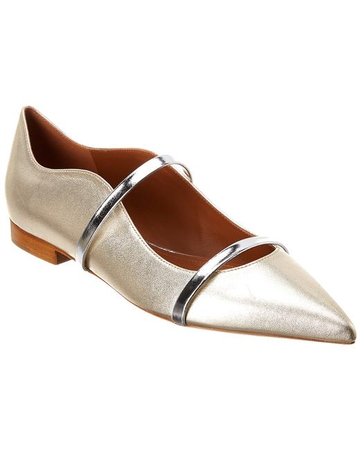 Malone Souliers Metallic Leather Maureen Pump 10 Platino Flats 13135924940005 Image 1