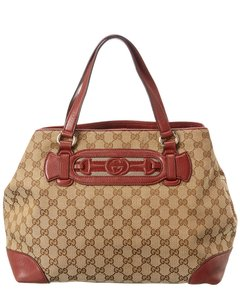 Gucci Pre-owned Brown Gg Canvas & Red Leather Dressage Qfbbqb0erb004 Tote