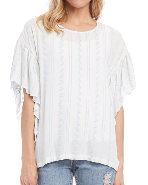 Item - L Women's Blue Large Cascade Ruffle Sleeve Embroider Blouse