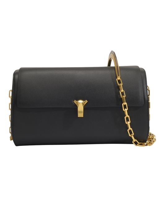 Item - Po Trunk with Chain Strap In Black Leather U Shoulder Bag
