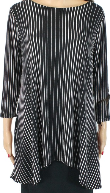 Item - Women's Black White Size Small S Swing Striped Stretch Blouse