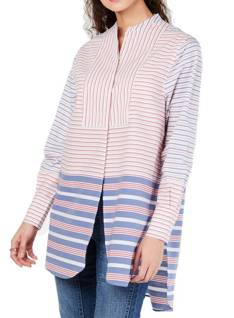 Item - L Women's Top Red Size Large Tunic Striped Colorblock Blouse