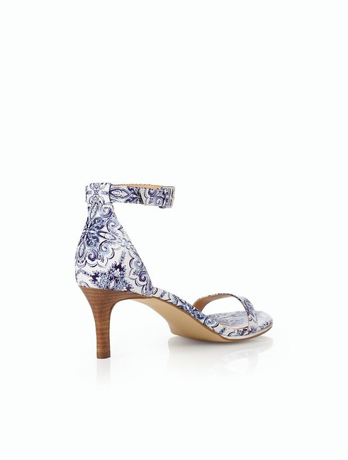 Item - New Blue Size 8 Ornate Tile Trulli Ankle Strap Leather Sandals