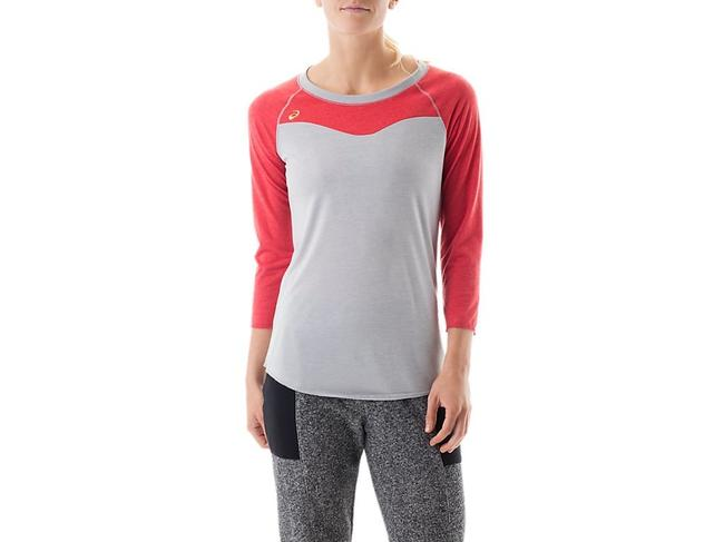 Item - New Gray Red Women's Size Small S Raglan Colorblock Tee Top Blouse