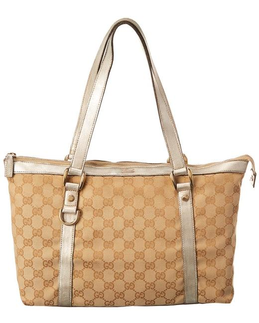 Item - Abbey Pre-owned Brown Gg Canvas 6784-1 Tote