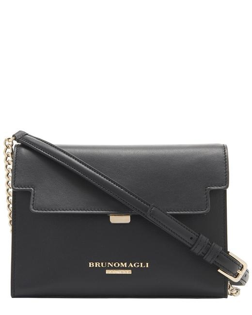 Item - Chain Flap Leather F0323sm-smooth-black Cross Body Bag