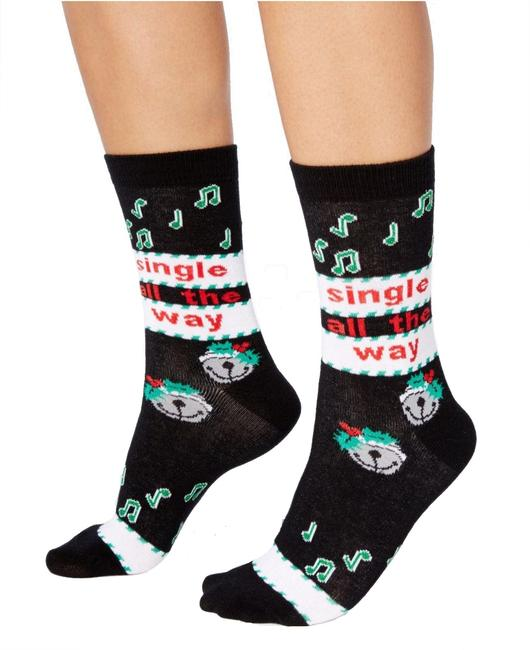 Item - New Black Women's Size 9-11 Single All The Way Holiday Hosiery