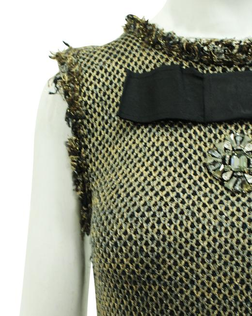 Item - Tweed Metallic Knit with Brooch Embellishment -pre Owned Cocktail Dress
