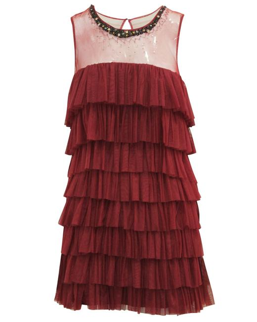 Item - Burgundy Layered Fringe -pre Owned Condition Good S Cocktail Dress