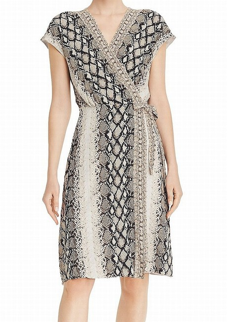 Joie XS Women's Brown Size Wrap Snake-print Waist-tie Surplice Cocktail Dress Joie XS Women's Brown Size Wrap Snake-print Waist-tie Surplice Cocktail Dress Image 1