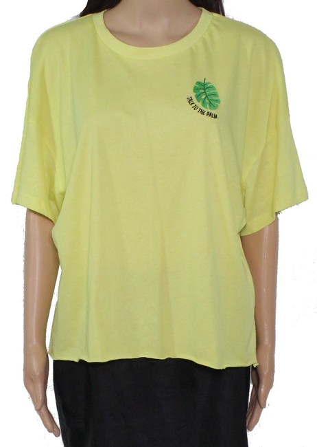 Item - XL Women's Top Highlighter Yellow Size Embroidered Tee Blouse