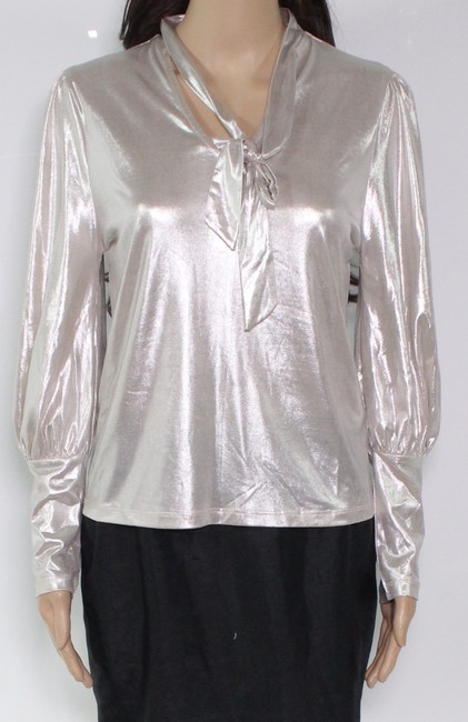 Item - L Women's Gold Size Large Tie Neck Shimmer High Low Blouse
