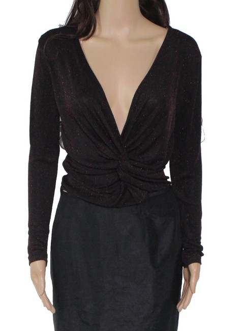 Item - Womens Top Black Size Small S Knit Shimmer Ruched Front Blouse