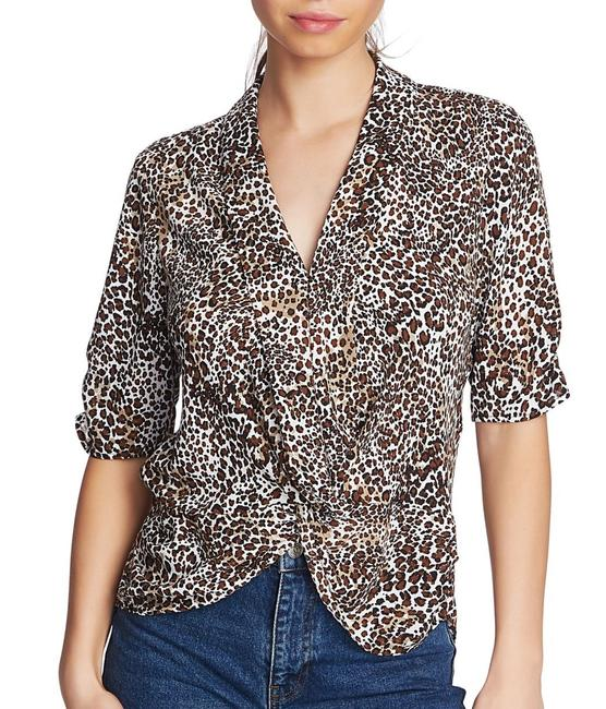Item - Women's Brown Size Small S Cheetah Print Front Knot Blouse