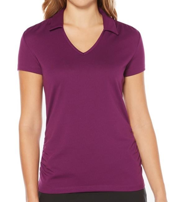 Item - Women's Polo Shirt Purple Size Medium Ruched Top