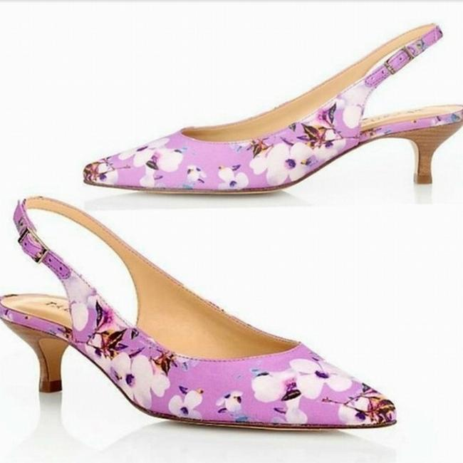 Item - Women Purple Size 6.5 Kitten Heels Pippa Pansy Slingback Sandals