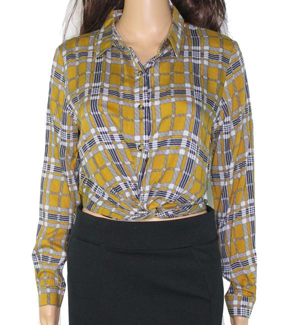 Item - Yellow Size Small S Junior Button Front Glen Plaid Blouse