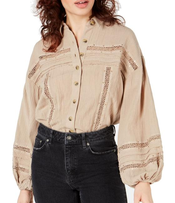 Item - Women's Top Brown Size Small S Button Down Crinkled Blouse