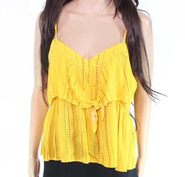 Item - And Women's Top Bright Yellow Size Small S Tank Tie Front Blouse