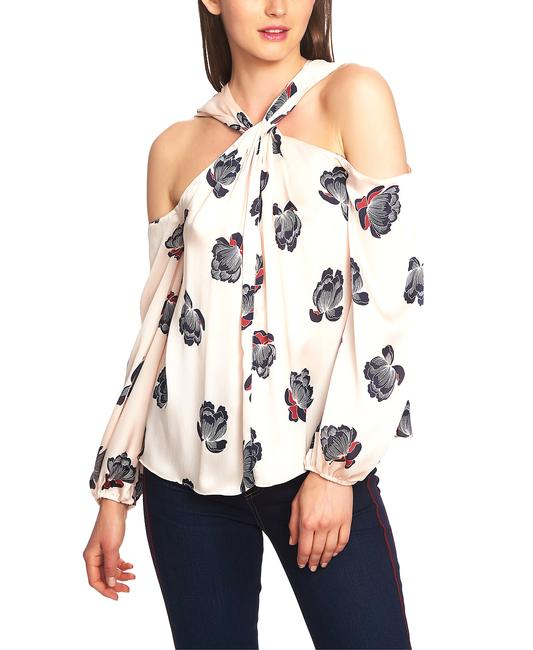 Item - Plush Luxe Floating Blossoms Twist Neck Blouse