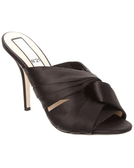Item - N21 Satin Knot 8020 Nero Mules/Slides
