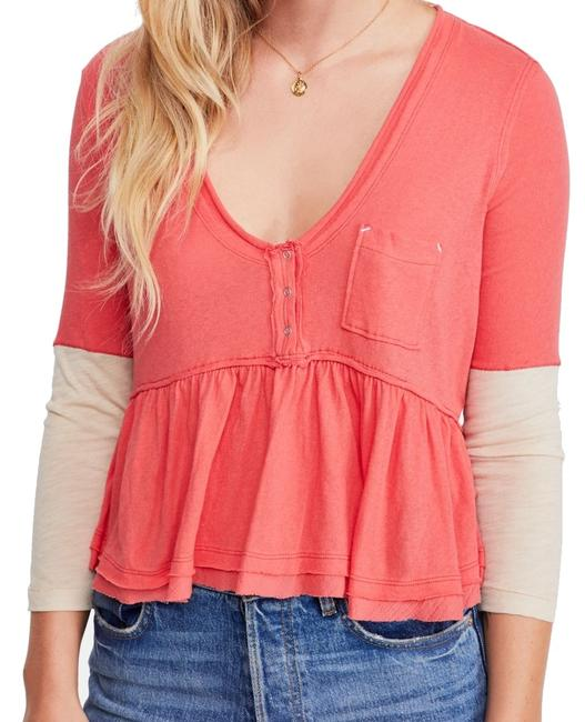 Item - Womens Top Camelia Pink Size Small S Henley Contrast Blouse