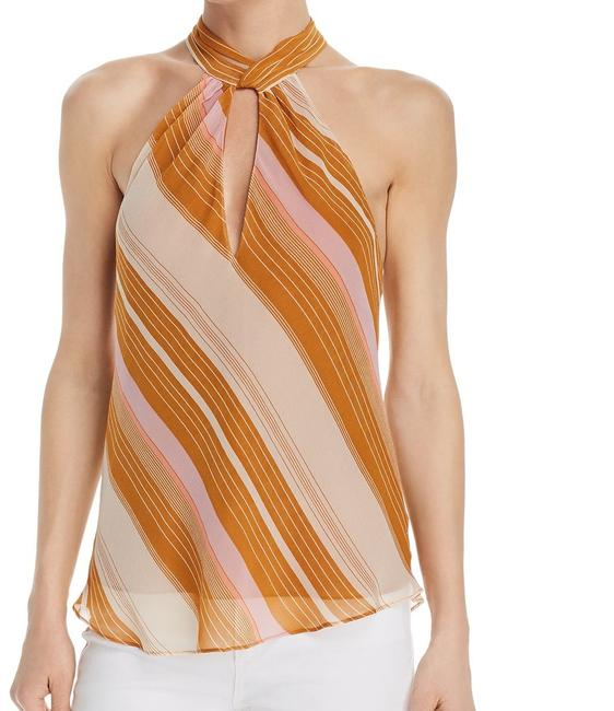 Item - XS Women's Orange Size Striped Keyhole Cutout Halter Silk Blouse