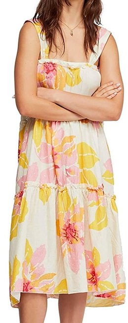 Item - XS Women's Yellow Size Shift Floral Print Tiered Cocktail Dress