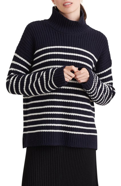 Item - Women's Blue Size Small S Mock-neck Wool Striped Sweater/Pullover
