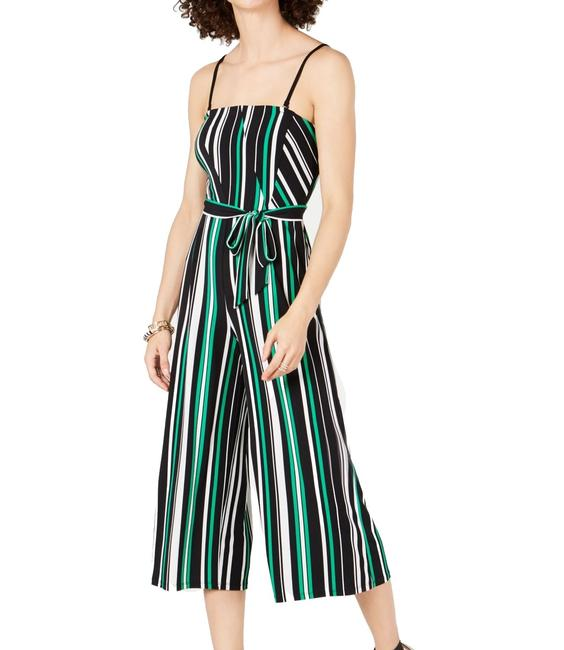 Item - Womens Green Size Medium M Striped Belted Removable Romper/Jumpsuit