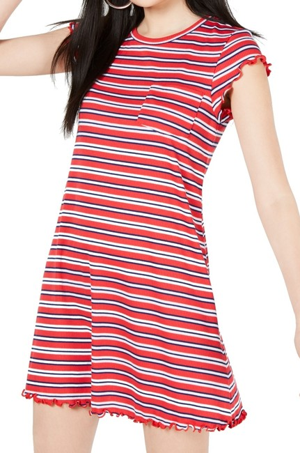 Item - Junior's T-shirt Cherry Red Size Small S Striped Formal Dress