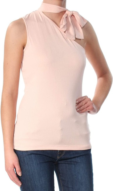 Item - L Women's Knit Top Light Pink Size Large Tied-neck Ribbed Sweater/Pullover