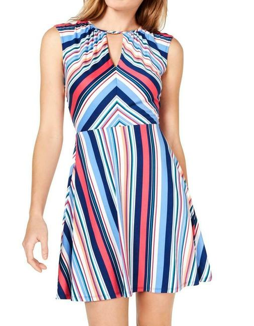Item - Blue Size Small S Junior Striped Keyhole Fit & Flare Formal Dress
