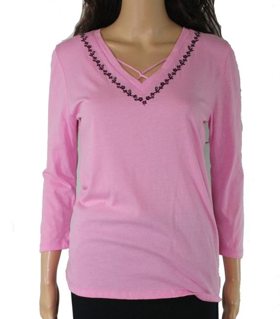 Item - Women's Sleepshirt Pink Size Small S Embroidered Cotton Button-down Top