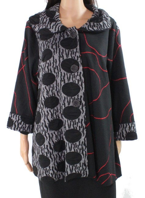 Item - L Women's Red Black Size Large Abstract Printed Button Jacket