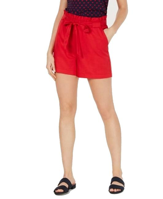Item - XL Women's Red Size Paper Bag Solid Tie Waist Shorts