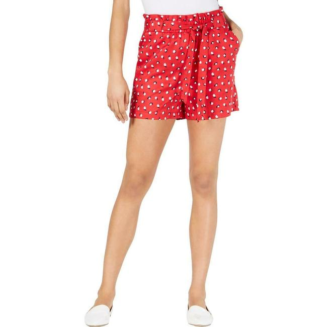 Item - Women's Red Size Xxs Printed Belted Paperbag-waist Shorts