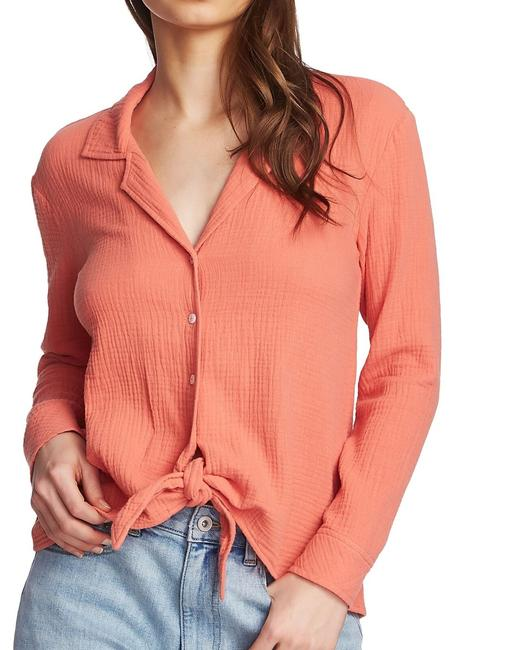 Item - XS Women's Red Size Tie Front Crinkle Shirt Button-down Top