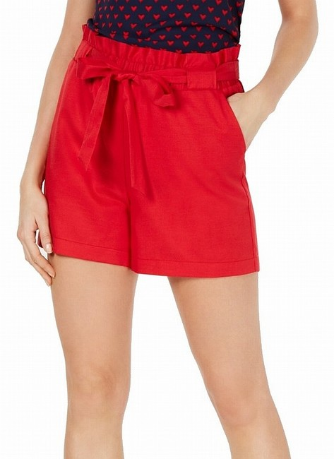 Item - L Women's Red Size Large Paperbag Tie-waist Solid Shorts