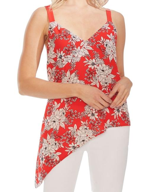 Item - Women Bright Red Size Small S Asymmetric Floral Blouse