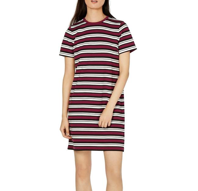 Item - Womens T-shirt Purple Size Small S Striped Crewneck Cocktail Dress
