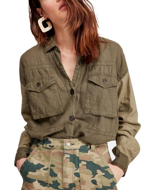 Free People XS Women's Shirt Army Green Size Day Drifter Button Up Button-down Top Free People XS Women's Shirt Army Green Size Day Drifter Button Up Button-down Top Image 1