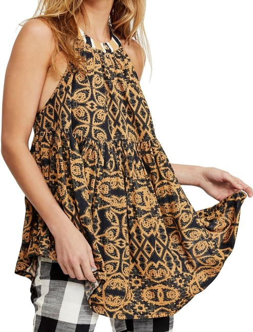 Item - XS Women's Blouse Yellow Black Size Printed Halter Tunic