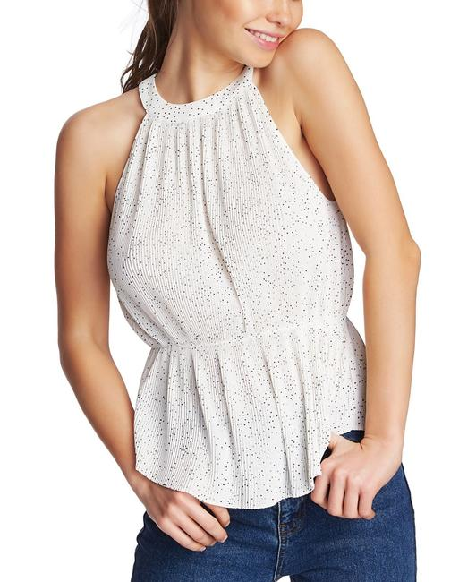 Item - XS Women's Shirt White Ivory Size Micro Pleated Dotted Halter Button-down Top