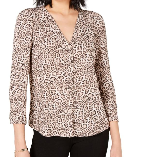 Item - XL Womens Brown Size Animal Print Puff Sleeve Button Blouse