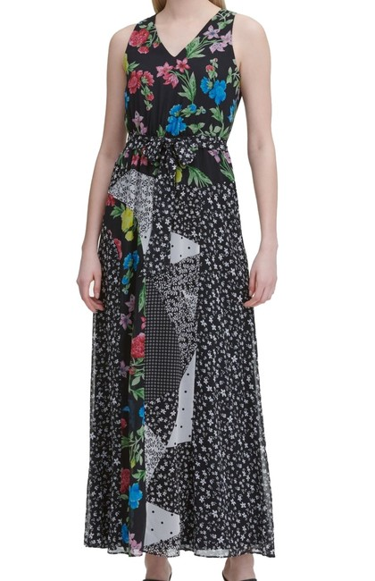 Item - Womens Black Size Small S Sheath Belted Floral Midi Cocktail Dress