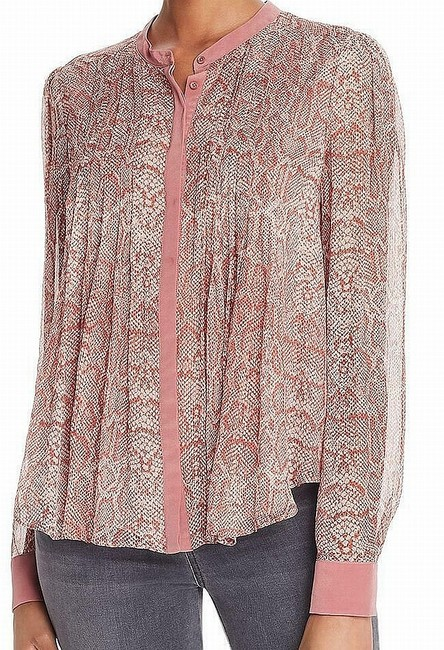 Item - Women's Red Size Xxs Snakeskin Print Pleated Buttoned Silk Blouse
