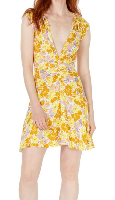 Item - XS Women's Sunny Yellow Size A-line Ruched Mini Cocktail Dress