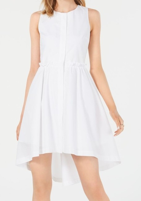 Item - XS Women's Ultra White Size A-line Button Front High Low Cocktail Dress