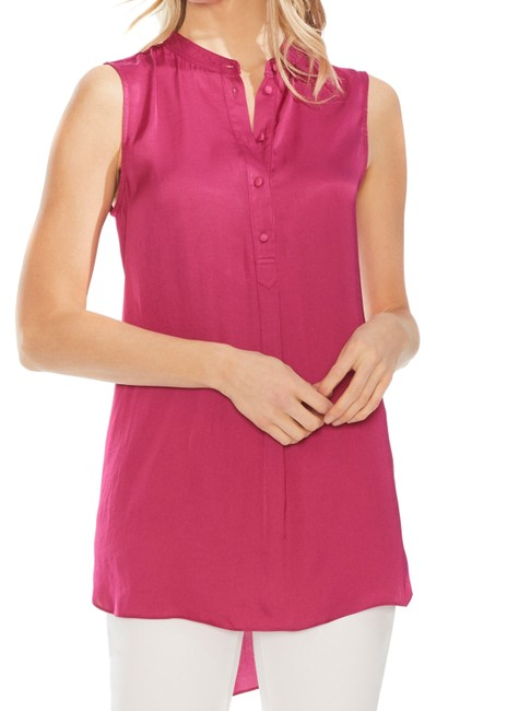 Item - XS Women's Blouse Deep Pink Size High Low Henley Tunic